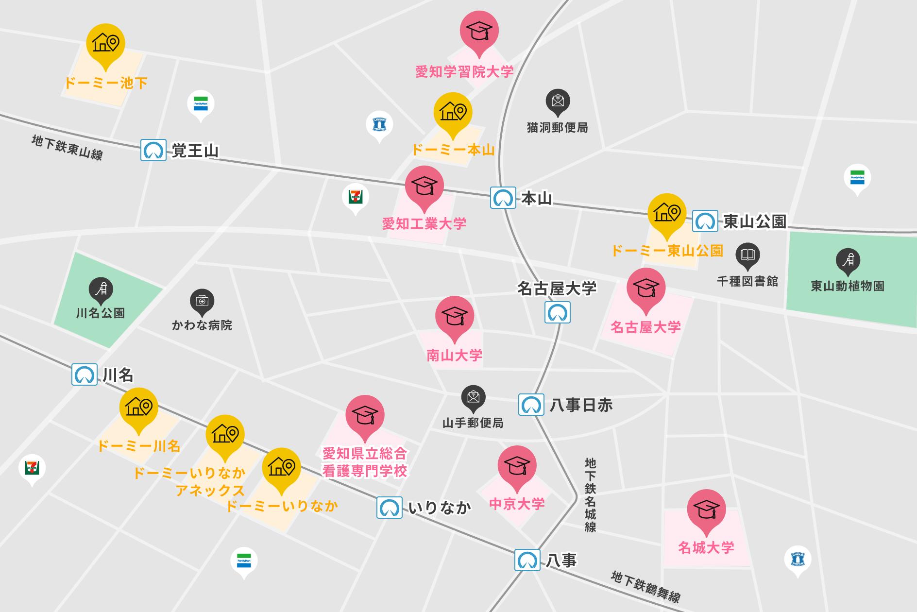 本山エリアの地図